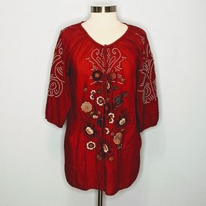 Johnny Was 3J Workshop Red Embroidered Top